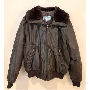 Vintage Members Only Brown Leather Fur Moto Jacket